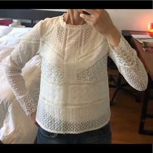 White cotton lace long sleeve top